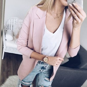 Mulheres de Slim OL Suit Casual Sólidos Blazer Jacket Brasão Tops Casacos manga comprida entalhadas fêmeas Blazers 2 Cores