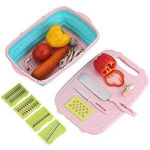 9 In 1 Foldable Cutting Board with Colander Silicone Dish Tub Washing Draining Storage Basket Cutting Vegetables Grater
