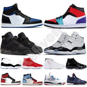 Новые ботинки баскетбола Jumpman 1 1s OG High Pine Зеленый Черный суд Фиолетовый Royal Бред Toe NC Obsidian UNC игры Баскетбольные кроссовки Кроссовки
