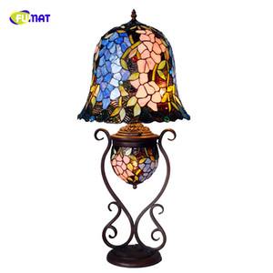 Lampada da tavolo in vetro colorato FUMAT Artistic Wisteria Glass Shade Illuminazione a stelo Living Room Store Bar Lampade da comodino Lightings