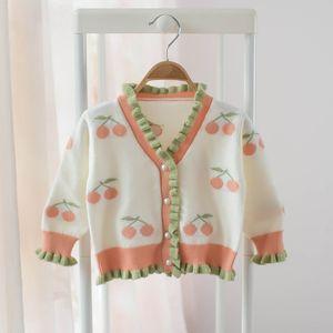 Paragraph Children's Clothes Children Sweater Girl 2020 Children Cherry Knitting Cardigan 0201