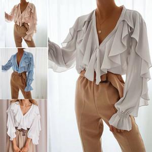 Femmes V Neck Ruffle Casual longue en mousseline de soie à manches cloche Chemisier T-shirt Tops d'été