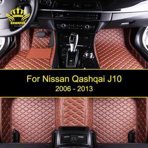 ROWNFUR Su geçirmez Araç Paspaslar İçin Qashqai J10 Car Clean Deri Paspaslar Oto İç Halı Paspas koruyun