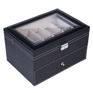 20 compartimentos colección de reloj caja de reloj del cuero de exhibición de la demostración caja de la caja de doble Capas joyería elegante colección de almacenamiento del sostenedor del organizador