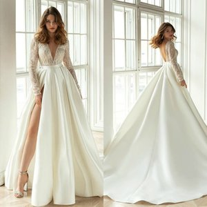 Modest Long Sleeve 2020 Satin Wedding Dresses A Line Deep V Neck Side Split Bridal Gowns Backless Country Wedding Gown
