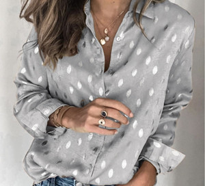 Spring and summer 2020 Europe and America new fashion leisure sexy printing V-neck polyester women's shirt promotion free of freight 116