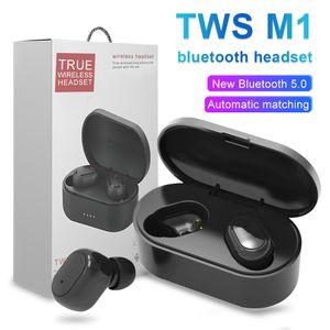 M1 TWS Bluetooth Fones de ouvido sem fio 5.0 Stero Earbuds Noise Intelligent cancelando auscultadores portáteis Para Smart Celular com Retail Box