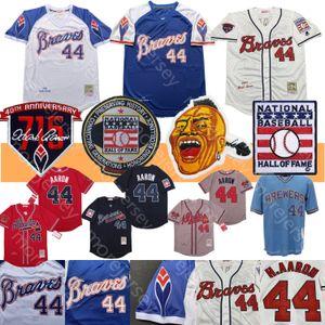 Hank Aaron Jersey 1974 Pullover 715 Home Run Patch Baseball Hall Of Fame Blanco Azul Gris Crema Todo cosido Hombres tamaño M-3XL
