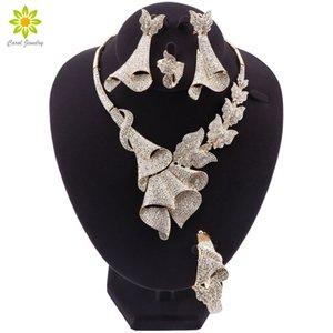 Perles de mariée mariage africains nigériens cadeaux Ensemble de bijoux de marque Femme Mode Dubai Gold Bijoux couleur Set gros DesignFashion Afrique Jewe