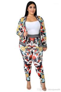 Lange Hosen Floral Sport Style Weibliche Kleidung Mode Zipper beiläufige Kleidung der Frauen Designer 2Pcs Drucken