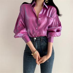 HziriP 2019 été Reflective en vrac mode vintage solide Tops mince Rétro Gratuit élégant femmes sélectionl Chemises simples 2 couleurs V191212