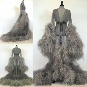 Grey Lady camicia da notte Donne Pigiameria lunghe vesti da sposa Pigiama Accappatoio Sleepwear Robe da sposa abito di preparazione partito del vestito da damigella d'onore