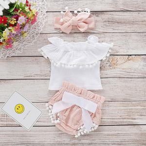 Verano Bebé recién nacido Ropa para niñas Princesa Tops Vestido + Pantalones cortos Conjunto de conjuntos 0-24M
