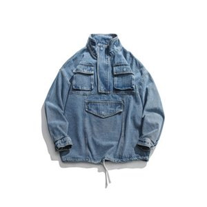 Mens Fashion Street Loose Denim Jacket Coats LUCKY FIVE Letter Print Blue Coat Spring Autumn Winter Cargo Pockets Jackets