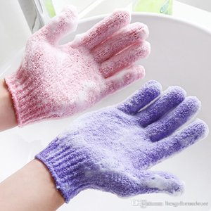 Commercio all'ingrosso idratazione della pelle Prendersi cura del panno del guanto del bagno Five Fingers Esfoliante Viso Corpo Guanti di balneazione durevoli morbidi guanti aC BH0623