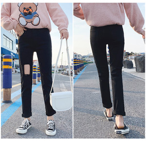 JinYiLai Wither Noir female Jeans
