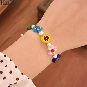 Hangzhi 2020 New Summer Natural Fresh Water Pearls Beaded Glaze Colorful Flowers Handmade Chain Bracelets for Women Jewelry Gift