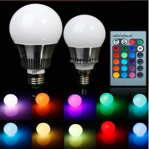 85-265V E27 E14 RGB LED Bulb Lights 5W 10W RGB Lampada Changeable Colorful RGBW LED Lamp With IR Remote Control+Memory Mode