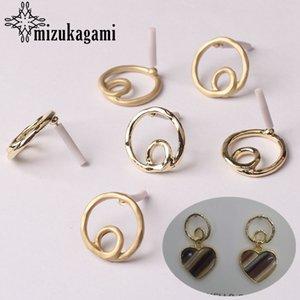 Aleación de zinc hueco de oro del Círculo pendientes redondos base del conector de 18 mm 6pcs / lot para los pendientes DIY joyería que hace Accesorios