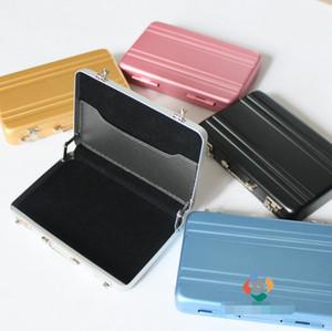 Contraseña de aluminio tarjeta de crédito titular de casos Mini tarjeta de visita de la moneda de la cartera 5 colores Caja de metal Caja de almacenamiento Herramientas útiles