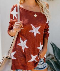 Kadınların Katı Red Star Print Kış Sonbahar Gevşek Kapalı Omuz Uzun Kollu Örme Kazak Jumper Triko Casual 2 Renkler Tops