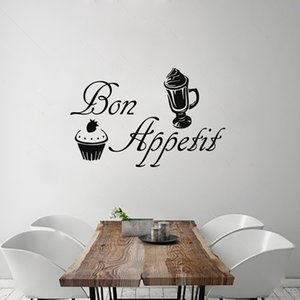 Bon Appetit Wall Sticker Removable Vinyl Home Decor Ice-Cream Cake Wall Decals For Dining Room