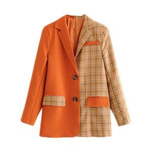 DEAT 2019 Blazer donna Giacca scozzese Patchwork donna Arancione manica lunga a maniche lunghe Tuta da lavoro tuta sportiva Tuta MF971