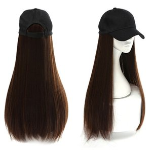 Women Long Straight Wigs Synthetic Hair Extensions with Baseball Hat Cap D08E