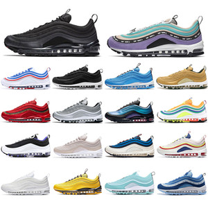 Nike Air Max 97 off white Nueva moda masculina y femenina Black Bullet SE London Summer of Love Silver Bullet zapatillas deportivas con zapatillas de deporte con calcetines gratis