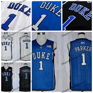 Mens personalizar Jabari Parker Duke Blue Devils College camisetas de baloncesto personalizar nuevo azul barato # 1 Jabari Parker camisas cosidas S-XXL