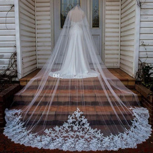 Hot Sale 3M Long Wedding Veils Soft Cathedral Length One Layer Lace Edge Tulle Bridal Veil For Women Hair Accessories