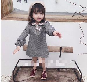 New Spring Baby Girls Casual Dress Kids Long Sleeve Plaid Dress Children Princess Dresses 14526