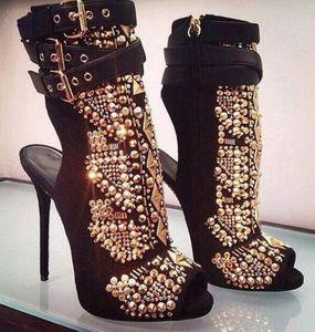 2019 мода золото шипованные заклепки сапоги женская вечеринка обувь Peep Toe пинетки шип шпилька летние сапоги женские гладиаторы