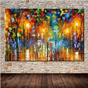 Modern Abstract Hand Painted Oil Paintings Rain Street Tree Lamp Landscape Painting On Canvas Wall Art Wall Pictures For Home