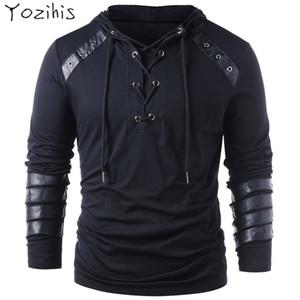 Yozihis Mode pour hommes Faux cuir lacées à capuche pour Boyfriend nouveau style Sweat-shirt à capuche avec cordon de serrage pleine manches Y191111
