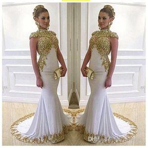 2020 branco longo Vintage Vestidos alta Neck Cap Sleeve frisada do laço do ouro apliques de cetim stretch Mermaid Mulheres Vestidos Formais