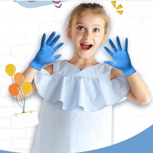 Disposable Nitrile Gloves kids Blue 20pcs Powder Free Household Cleaning Painting Protective HandWork Nitrile Gloves FY4033