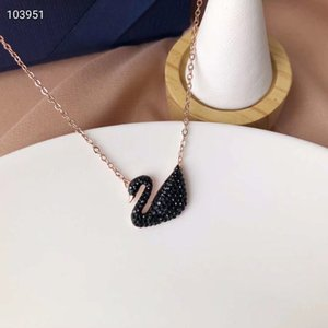 Горячие продажи версия Шицзя изысканный Большой Черный лебедь ожерелье женский Кристалл кулон розовое золото колье без шеи ювелирные изделия