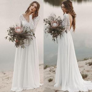 Vestidos de novia de la playa bohemia impresionante pura ilusión del cordón largo de la manga de la blusa sin espalda Vestidos de novia Vestidos de boda del verano