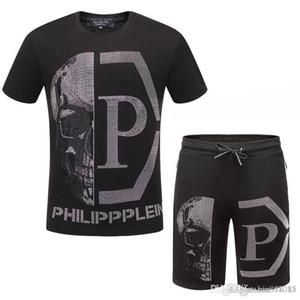 short sportswear das 2019 de Verão de homens terno novo calções calças T-shirt ocasional do terno T-shirt de mangas curtas alto do crânio