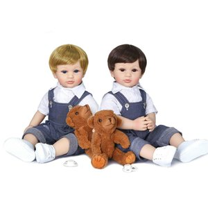 New 55cm 22inch authentic designed reborn baby jeans boy boy soft full silicone body two colors hair