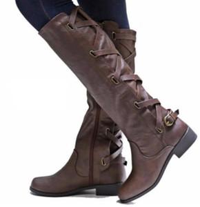 LZJ 2020 nouvelles femmes d'hiver du genou femmes haut Bottes moto Bottes talons mi robe Cuissardes Chaussures mujer taille plus