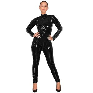 Plus Size Sexy PVC Long Sleeve Catsuit Lady High Neck Jumpsuit With Open Crotch Zipper High Quality Stripper Pole Dance Costume