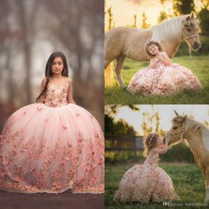 Бального платье Blush Pink девушки Pageant платье бабочка 3D Аппликация шнурок Малыши девушка мантий Первого причастие платье для свадьбы