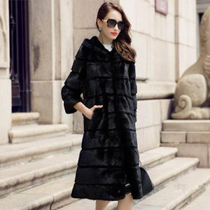 Nueva auténtica real del abrigo de pieles de conejo Natural-Jinnuo ENCANTADOR piel de las mujeres cubre con el tamaño de la campana extractora de envío gratuito JN551 SH190930 chaqueta Outwear