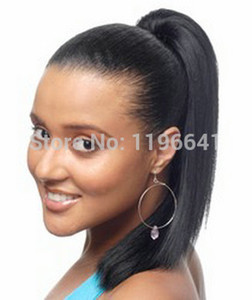 African american consistenza yaki luce capelli coda di cavallo umani, Clip a coulisse avvolgono yaki coda di cavallo di colore parrucchino 1b