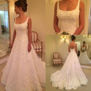 robe de mariee vestidos de noiva Longa Seção Spaghetti A Praça Line Pescoço Lace Bordados hierárquico Saias vestidos de casamento