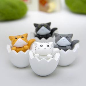 4 Adet / grup Sevimli Kabuğu Kedi DIY Ev Araba Dekor Çocuk Yaratıcı Hediyeler Toplamak Action Figure Oyuncaklar 2 Renk
