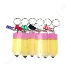 Porte-clés Tassel boucle décorative 8 * 3cm acrylique Professeur Appreciation cadeau Crayon Dangle Charms Porte-clés de Noël Halloween A110401