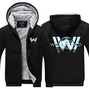 Westworld Hoodie Winter Cashmere Hoodies Cotton Coat Sportswear Hoodie Zipper Jacket thicken fleece hoodie Super Warm Sweatshirt EU Size